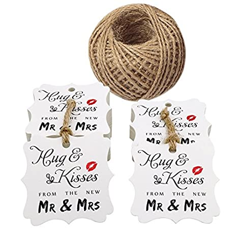 Wedding Paper Tags, Hug & Kisses from The New MR & MRS Printed 100 PCS Kraft Paper Tags, Creative Wedding Valentine's Day Favor Kraft Hang Tags with 100 Feet Jute Twine (Brown) JIJIA