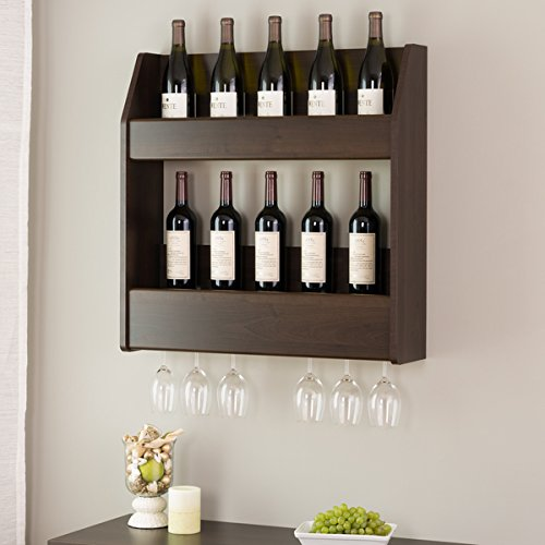 Wall Mount/ Wine Rack, Everett Wood Espresso Floating Wine and Liquor Rack - Assembly Required EW-0202-1. 28 in Wide x 28.5 in High x 7.25 in Deep by Prep