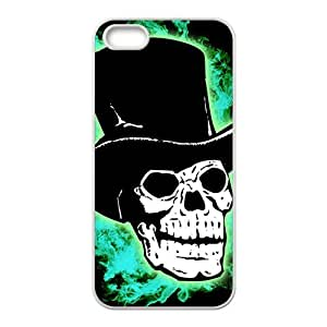Green shiny gentleman skull Phone Case for iPhone 5S(TPU)