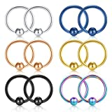 JFORYOU 12PCS 316L Surgical Steel Fake Captive Bead Ring for Nose Septum Hoop