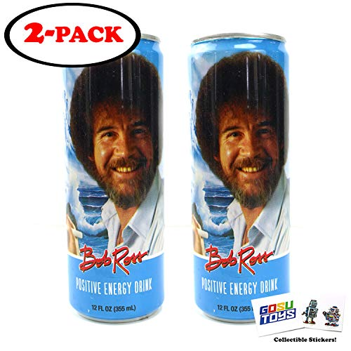 Bob Ross Positive Energy Drink 12 FL OZ Can With 2 GosuToys Stickers