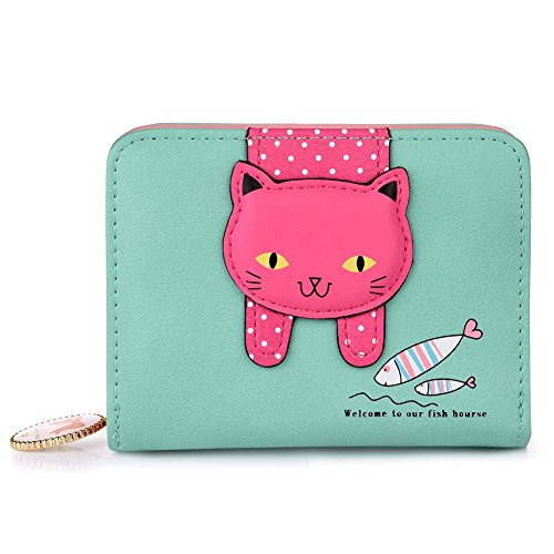 VBIGER Wallets for Girls WalletsforKids Small CartoonWallet Cute Cat Wallet Kitty Pattern Purse Coin Holder (Green)