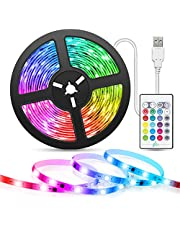 Musik USB-LED-remsor 5M, TASMOR RGB 5050 16 färger LED-lampor, 5v LED-remsa med fjärrkontroll, självhäftande dekorativ belysning för TV-bildskärm Bilkorridorfester och rum [Energieffektivitetsklass A +++]