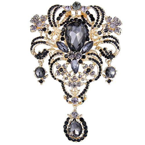 EVER FAITH Austrian Crystal Flower Bouquet Tear Drop Pendant Brooch Black Gold-Tone