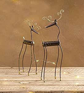 Quirky Metal Reindeer Statues, Set of 2