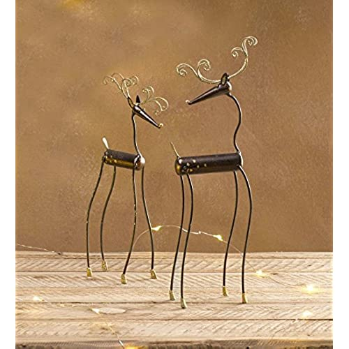 quirky metal reindeer statues set of 2 - Metal Reindeer Christmas Decorations