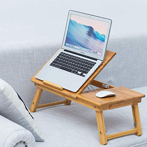 """FIRST LIKE Multipurpose Extra Large Bamboo Wooden Laptop Table/Study Table – Large Working Area of 24""""x13"""" – Adjustable & Foldable Design - for Home, Bed, etc. – with Cooling Fans"""