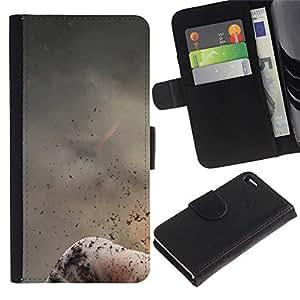 Be Good Phone Accessory // Caso del tirón Billetera de Cuero Titular de la tarjeta Carcasa Funda de Protección para Apple Iphone 4 / 4S // Abstract Volcano Nature Fire Mountain Ash
