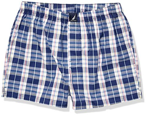 Nautica Men's Classic Cotton Woven Boxer,Plaid/Blue Depths,Medium (Shorts Boxer Nautica)