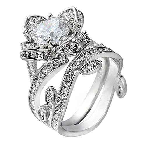 Ring Laimeng 2-in-1 Womens Vintage White Diamond Silver Engagement Wedding Band Ring Set (L9, Silver-2)