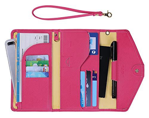 Zoppen Passport Holder for Women Travel Wallet Rfid Blocking Passport Cover Document Organizer Wristlet Strap Ver. 5 (Best Rfid Blocking Passport Wallet)