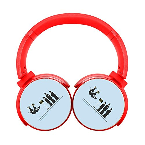 Noise Reduction Wireless Hifi Stereo Bass Over Ear Bluetooth Headphone Foldable Soft Memory Protein Earmuffs For Pc Cell Phones Tv 3 5Mm Plug Print Sky Taxi Red