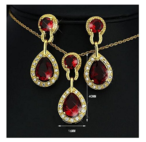 Yuriao Jewelry Luxury Diamond Accented Water Drop Crystal Necklace And Earrings(red)