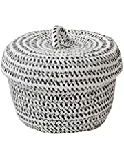 SHYPT Cotton Rope Basket Woven Laundry Basket Storage Hamper, Small Storage Box with Lid for Bedroom Living Room Decor Shelf Basket