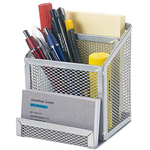 (Bonsaii Home Office Metal Mesh Desktop Organizer 3 Divided Compartments,Sliver(W6024))