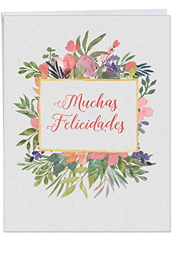 Inspirational Muchas Felicidades Congratulations Card with Envelope (8.5 x 11 Inch) - Spanish Greeting Notecard with Watercolor Painted Flowers, Leaves - Congrats Stationery for Women ()