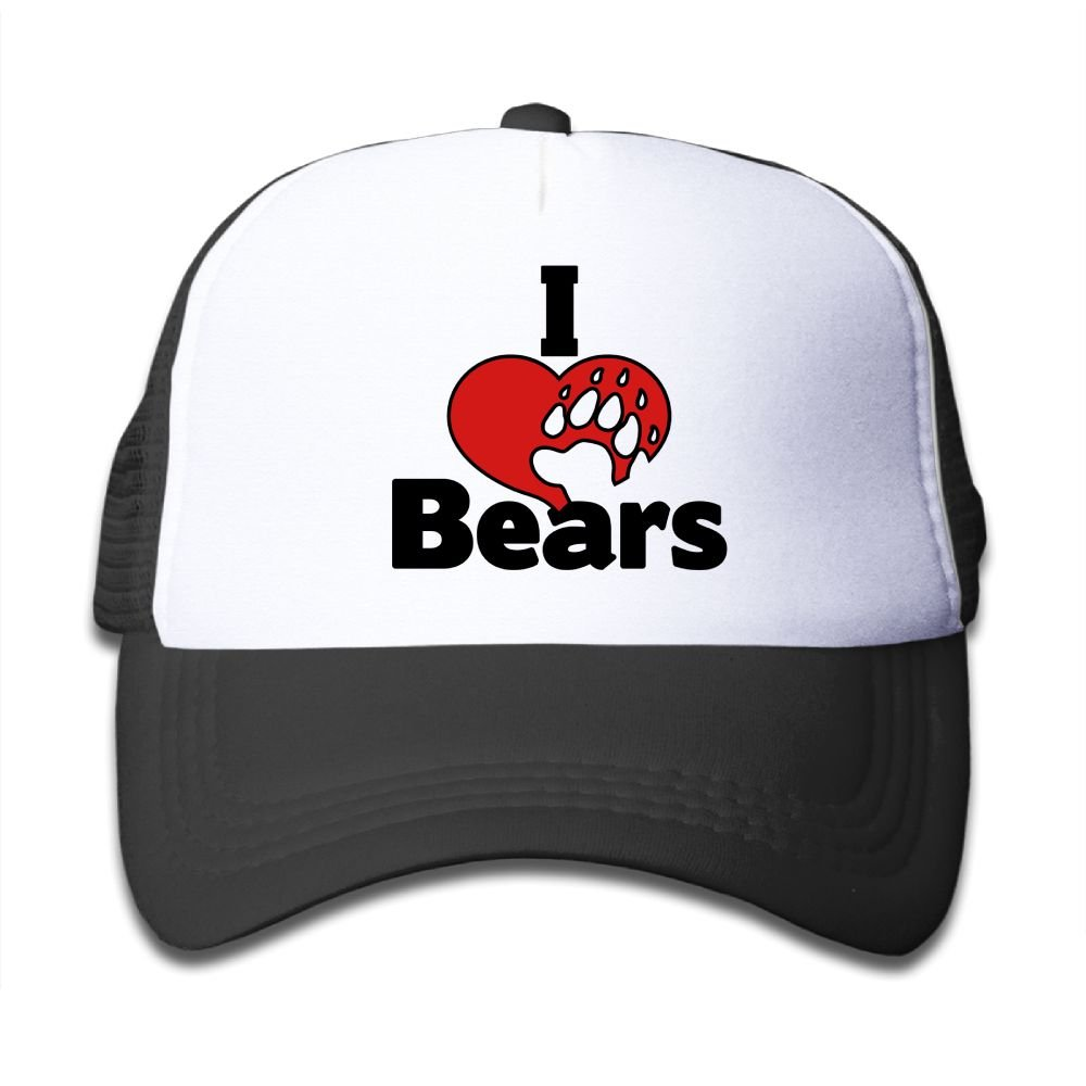 Hanfjj Kefdk I Love Bears Paw Trucker Caps with Adjustable Kids Baseball Hats Boys and Girls