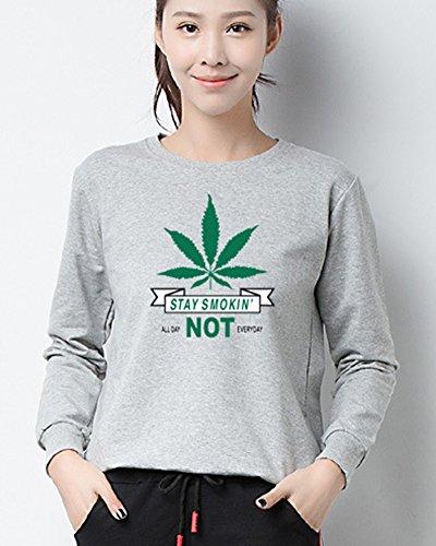 Camiseta Mangas Largas Girl T-Shirt Crewneck Blouse Sudaderas Para Mujer Gris Claro