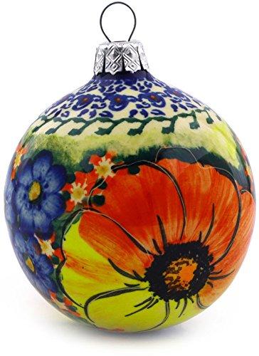 (Polish Pottery Christmas Ornament Ball 4-inch (Mystical Garden Theme) UNIKAT)