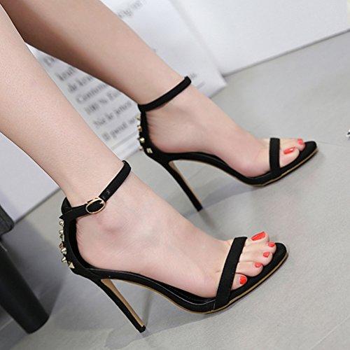 Chaussure Clouté Hauts Inconnu Femmes Cheville Noir Ouvert Talons Sandales Aiguille Bride Lanière Escarpins 84qwqIHx