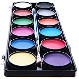 Blue Squid Face Paint 12 Color Palette - 30 Stencils, 3 Brushes, Jumbo Size Sturdy Case - Professional Best Quality Painting Kit for Kids | Water Based Set Non-Toxic FDA Approved | +Online Guide