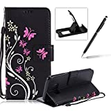 Strap Case for Samsung Galaxy S8 Plus,Smart Leather Cover for Samsung Galaxy S8 Plus,Herzzer Stylish Butterfly Flower Design Wallet Folio Case Full Body PU Leather Protective Stand Cover with Inner Soft Silicone Shell for Samsung Galaxy S8 Plus + 1 x Free Black Cellphone Kickstand + 1 x Free Black Stylus Pen - Black