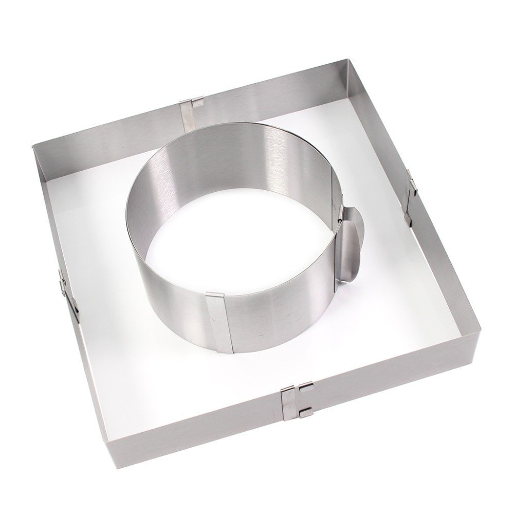 Home Adjustable Stainless Steel Round & Square Mousse Cake Ring Cutter Mold, 6'' to 11''