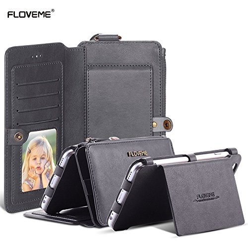 For Apple iPhone 6 Plus and Apple iPhone 6s Plus 5.5 inch Case, FLOVEME Vintage 2 in 1 Zipper Magnetic Wallet Leather 18 Card Slots Handbag Full Protection Flip Pouch Kickstand Cover Holder - Grey (Vintage Phone For Iphone compare prices)