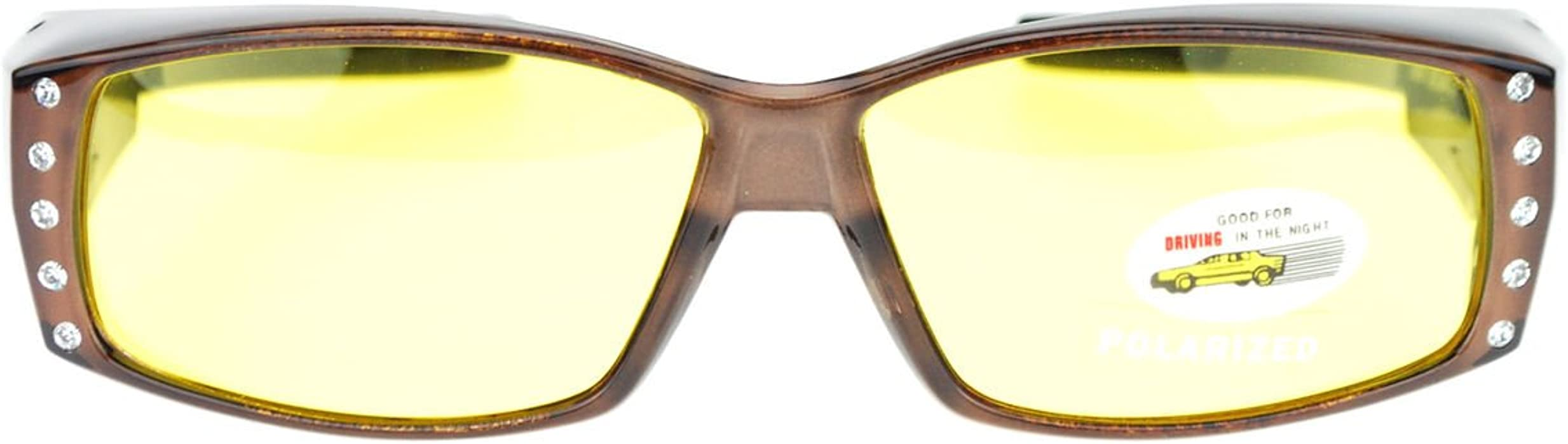 edc7bd7927 Womens Fit Over Glasses Polarized Night Driving Rhinestone Sunglasses