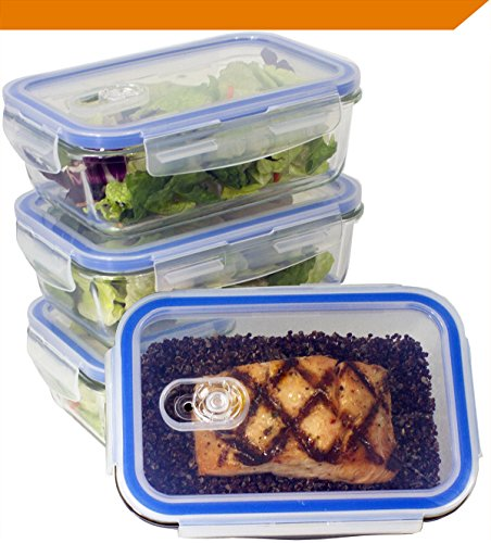 [Premium 4 Sets] Glass Meal Prep Food Storage Container with Snap Locking Lid, Glass Meal Prep Containers BPA-Free, Airtight, Microwave, Oven, Freezer, Dishwasher Safe (3.5 Cup, 28 Oz, Rectangle) - 4 Vented Lid