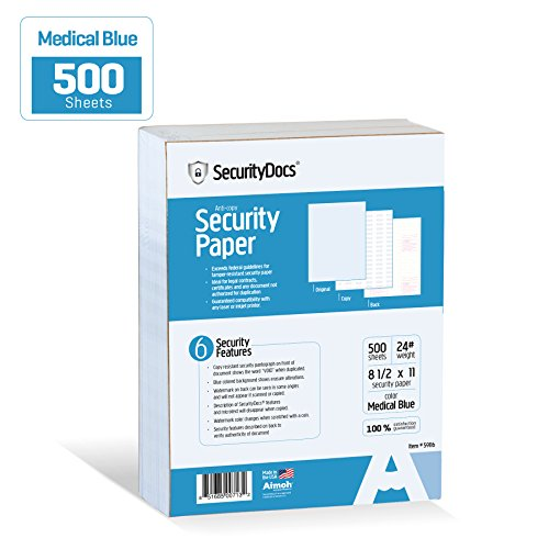 - SecurityDocs Security Paper 8.5 x 11 Inches, 500 Sheet Supply, Copy and Tamper Resistant, Pantograph, Inkjet and Laser Printer Compatible, Federal CMS Certified - Medical Blue (59116)