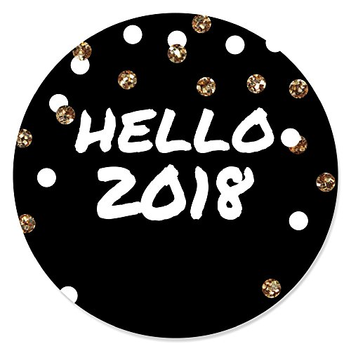 Pop, Fizz, Clink! - 2018 New Year's Eve Party Circle Sticker Labels - 24 Count