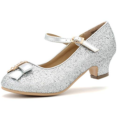 Girl's Dress Heels Glitter Shoes Pumps Bow Strap Sparkle Princess Fashion Party Wedding (1 M US Little Kids, Silver-1)