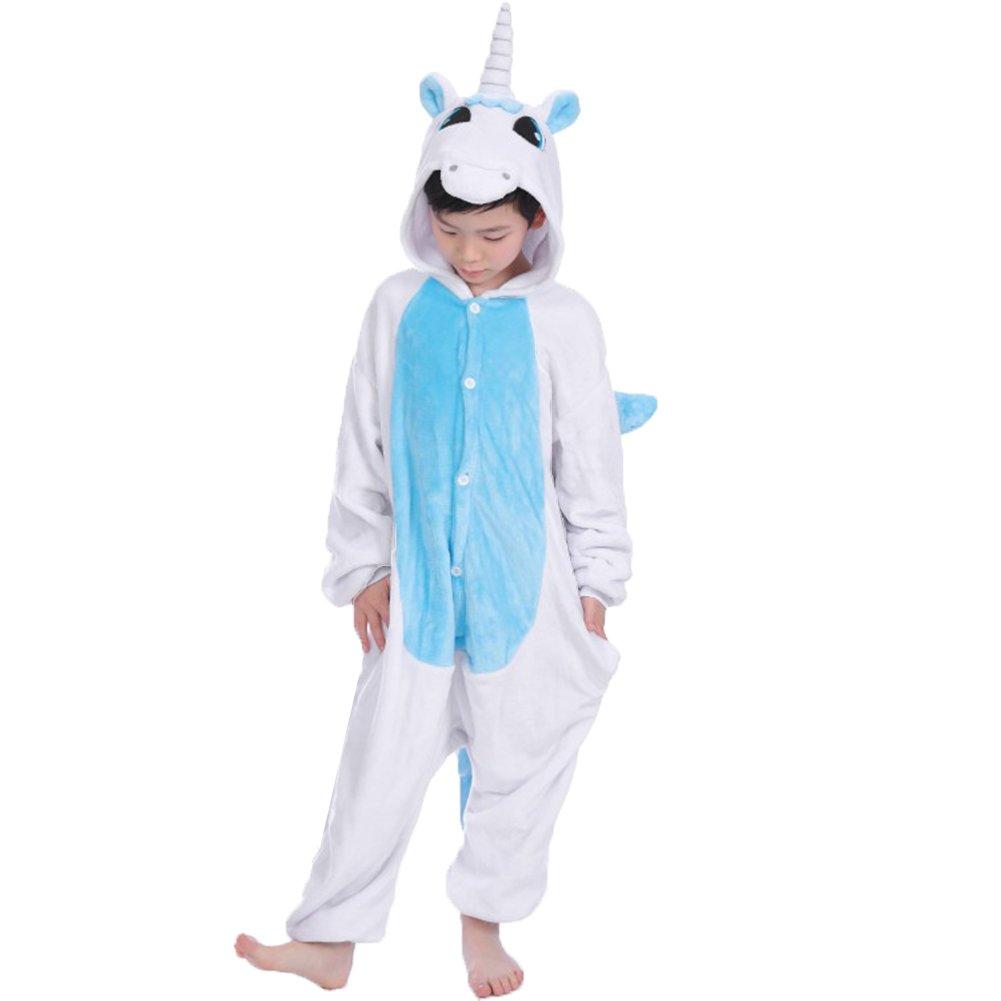 JT-Amigo - Pigiama Tutina Costume Animale - Bambina e Bambino - Unicorno Blu, 4-6 Anni KidsPajama-UnicornBlue-105