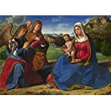 The polyster Canvas of oil painting 'Andrea Previtali The Virgin and Child adored by Two Angels ' ,size: 16 x 22 inch / 41 x 57 cm ,this Amazing Art Decorative Prints on Canvas is fit for Bar decoration and Home decoration and Gifts