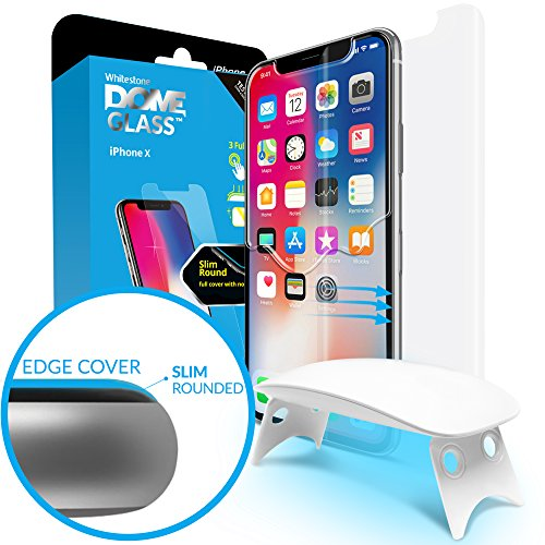 iPhone X Screen Protector Tempered Glass Shield, [Liquid Dispersion Tech] 2.5D Edge of Screen coverage, Dome Glass, Easy Install Kit and UV Light by Whitestone for Apple iPhone X (2017) / iPhone 10