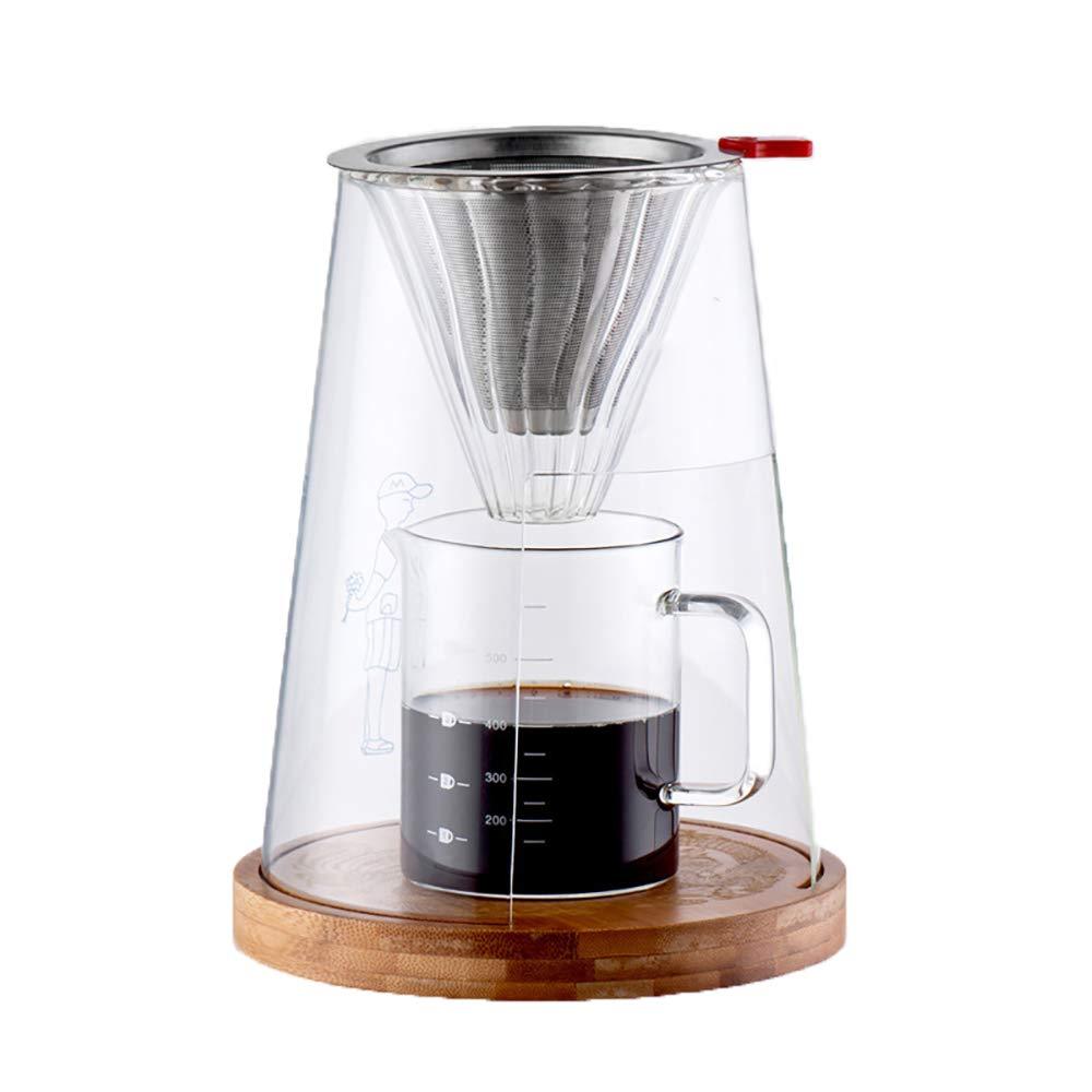 ホームオフィスの使用のために適したステンレス鋼フィルターとコーヒーメーカーセット、高ホウケイ酸ガラスコーヒーボトル木製彫刻ベースを注ぎます   B07QRFSS9G