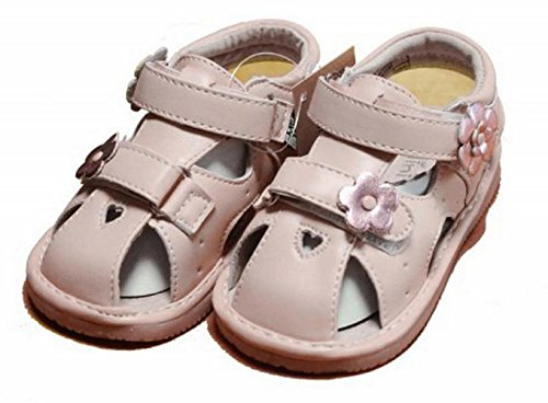 Jiazibb Baby Girl Soft Leather Flower Squeaky Sandals First Walking Toddler Shoes (Insole Length:120mm, pink)