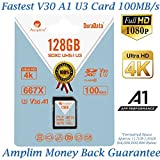 Amplim 128GB SDXC SD Card (V30 A1 U3 UHS-I Class 10 Extreme Pro) 128 GB Ultra High Speed 667X 100MB/s UHS-1 XC Flash Memory Storage for HD/UHD/4K Videos - Camera, Computer, Camcorder. 128G New 2018