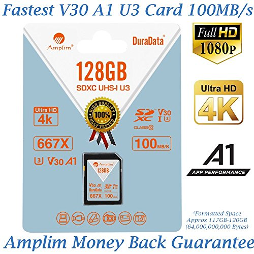 Amplim 128GB V30 A1 SDXC SD Card (U3 UHS-I Class 10 Extreme Pro) 128 GB Ultra High Speed 667X 100MB/s UHS-1 XC Flash Memory Storage for HD/UHD/4K Videos – Cameras, Computers, Camcorders. 128G