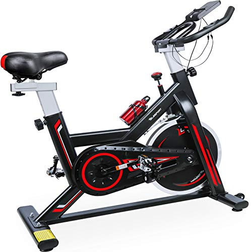 TELESPORT Indoor Cycling Bike, Cardio Workout Fitness Spinning Bike Quiet Belt Drive Exercise Stationary Bycicle, Stable…