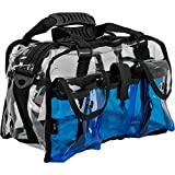 nyx trolley - Casemetic Clear Set Bag Double Zippered Storage Compartment with 3 External Pockets and Shoulder Strap, Blue