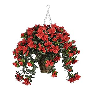 House of Silk Flowers Artificial Red Azalea in Square Hanging Basket 17