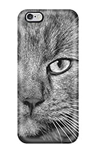 High-end Case Cover Protector For Iphone 6 Plus(mystery Cat Grey Black White Portret Felines Animal Cat)