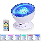 Ocean Wave Projector Light, T-SUN Sleep Night Light with 7 Lighting Modes, Built-in Hypnosis Music and Mini Speaker, Decorative Light for Kids Bedroom, Living Room, Party, Best Child Birthday Gift.