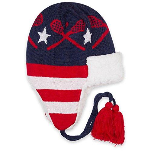 Lacrosse Patriotic Sherpa Trapper Hat   Sherpa Winter Hat -