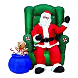 5 ft. Inflatable Realistic Animated Christmas Santa in Chair with Teddy Bear
