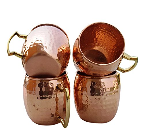 BLUE NIGHT Handcraft Solid And Pure Copper Moscow Mule Mug With Copper Barrel, 16 Oz, Hammered, Set Of 4 (Spirit Halloween Utah)