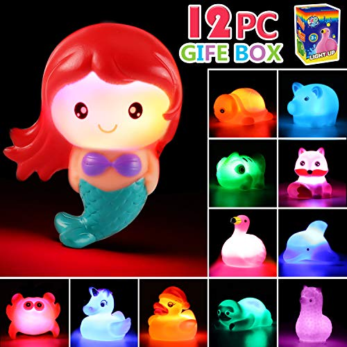 Bath Toy, 12 Pack Light up Animal with Gift Box, Floating Rubber Auto Flashing Color Tub Toys for Bathtub Bathroom Shower Game Swimming Pool Party, Water Toy for Infant Kid Toddler Child Boy Girl (Best Light Up Toys)