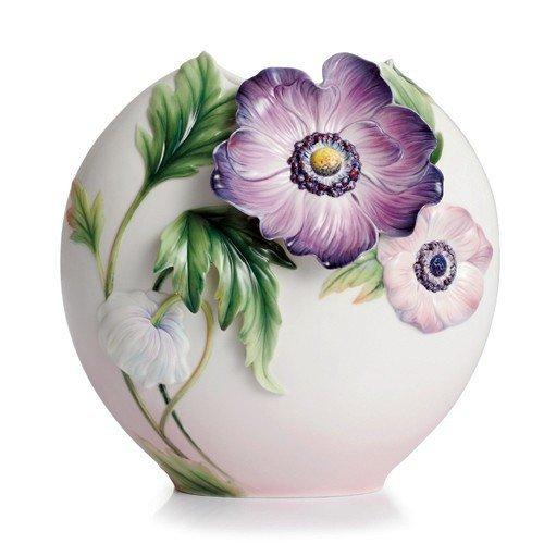 Franz Anemones Design Sculptured Porcelain Mid Size Vase - Sculptured Design Vase Porcelain
